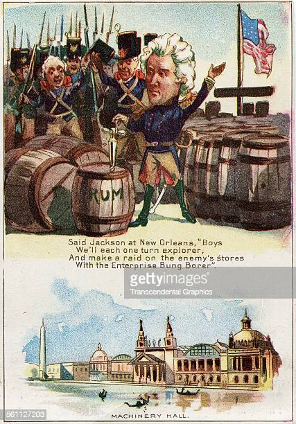 A color lithographed Victorian era trade card for the Philadelphia Exposition designed to tell an historical story about Andrew Jackson 1876