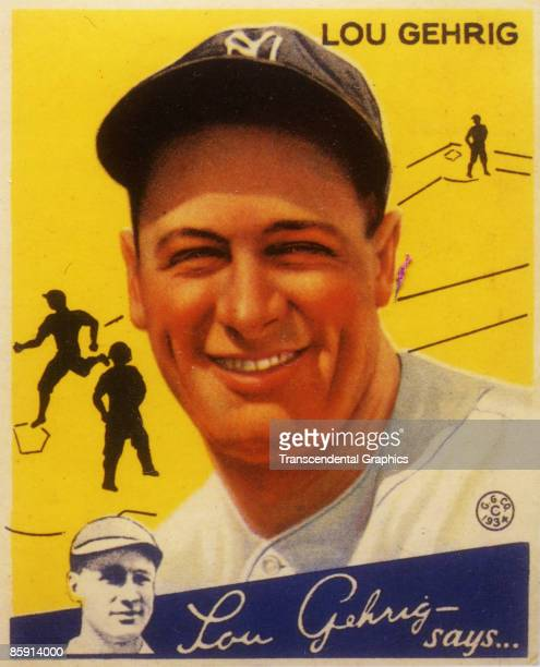 Color lithographic baseball bubble gum card showing legendary first baseman Lou Gehrig of the New York Yankees New York 1934