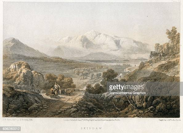 Color lithographic illustration shows an idyllic view of Skiddaw mountain from James Baker Pyne's book 'Lake Scenery of England' 1880