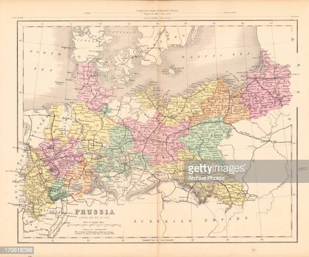 Color map of Prussia the Kingdom of Austria as depicted prior to World War II