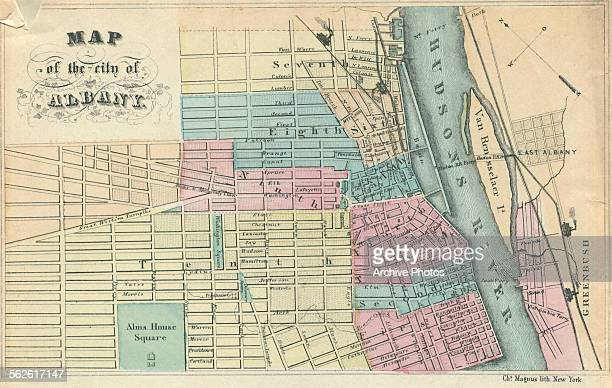 Color map of the city of Albany and the Hudson River New York circa 1850