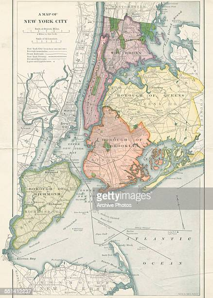 Color map of the five boroughs of New York City circa 1900