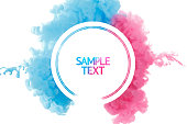 Color paint splash background, liquid cloud ink abstract isolated. Color smoke abstract template design. Ink swirling drop in water isolated on white background. Pink and blue.