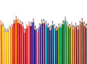 close up  of color pencils on white background with clipping pathclose up  of color pencils on white background with clipping path