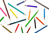 Color pencil and pencil on white background for isolate and cut out the background, Stationery, Color pencil and shavings