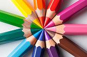 Color pencils in circle composition.