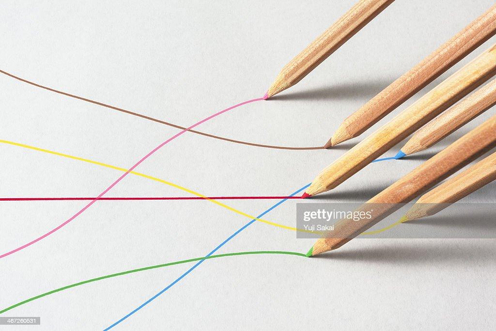 Color pencils line on paper