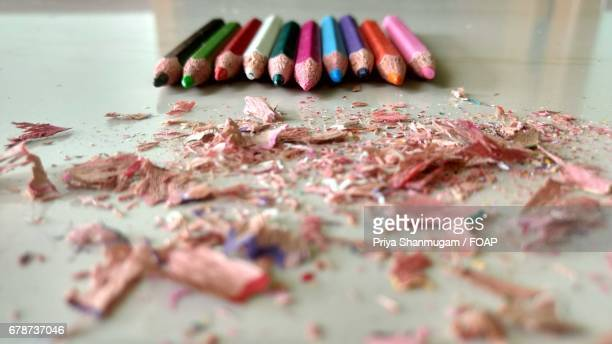 Color pencils with shavings