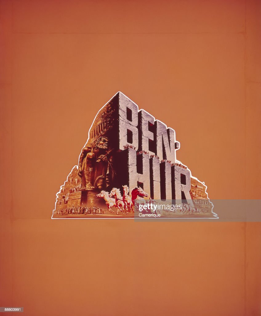 Color poster publicizing the epic movie 'Ben Hur', 1959. A chariot race is depicted against a bright orange background.