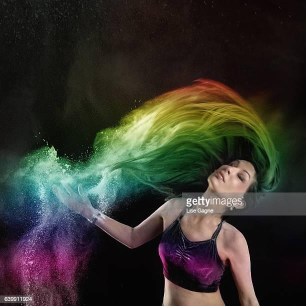 Color Powder in hair