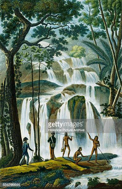 Color Print Depicting French Expedition Members with Polynesians at Cascade of Port Praslin by Louis Isidore Duperrey