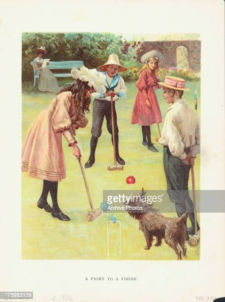Color print of 'A fight to a finish' depicting children playing croquet whilst their dog watches with interest