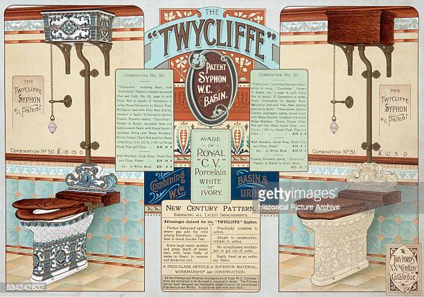 Color print of late Victorian marketing for bathroom and sanitary equipment