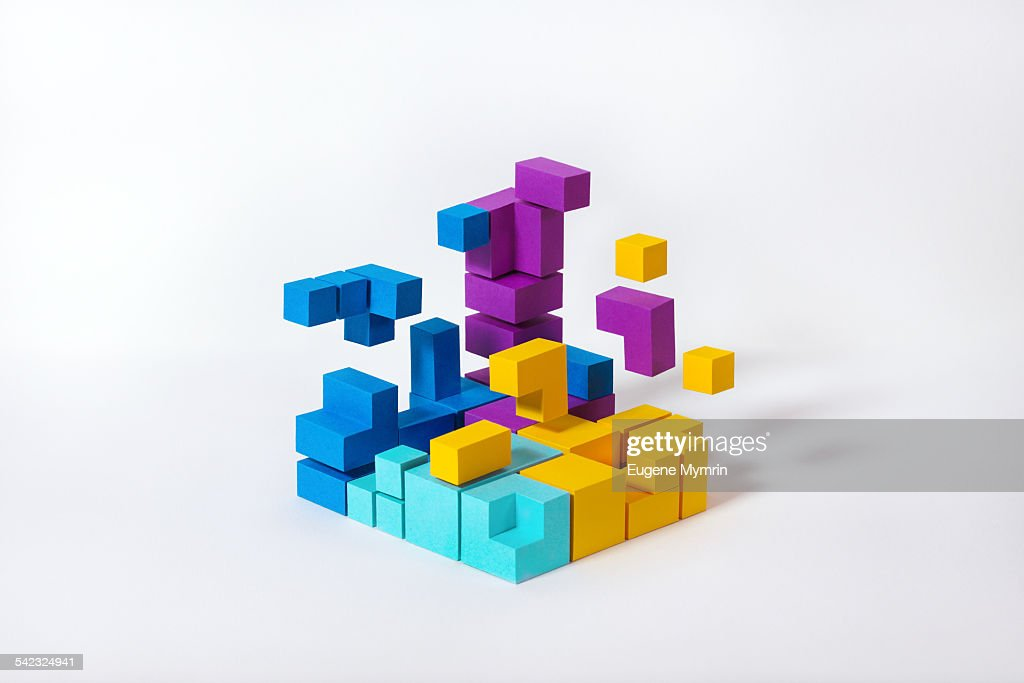 Color shapes on white background