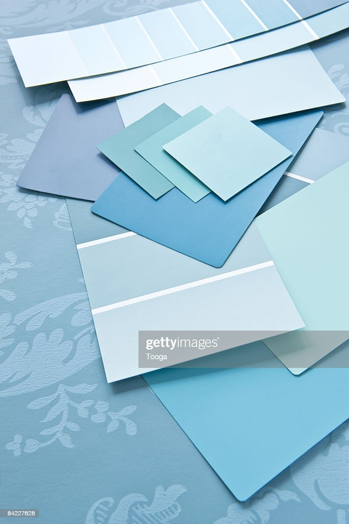 Blue Paint Swatches color story of blue paint swatches stock photo | getty images