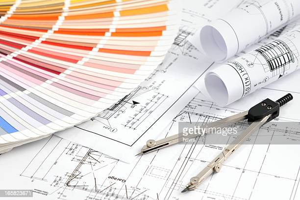 Color Swatch for home improvement with blueprints and drawing compass