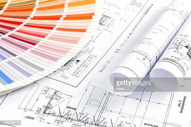 Color Swatch for home improvement with blueprints plan