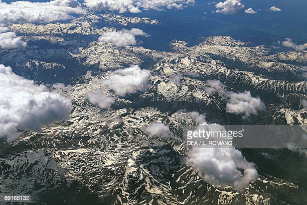 USA Colorado aerial view of clouds over Rocky Mountains