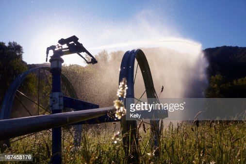 USA, Colorado, Agricultural Sprinkler on field : Stock Photo