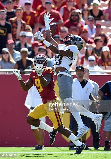 Colorado Ahkello Witherspoon breaks up a pass intended for USC JuJu SmithSchuster during an NCAA football game between the Colorado Buffaloes and the...
