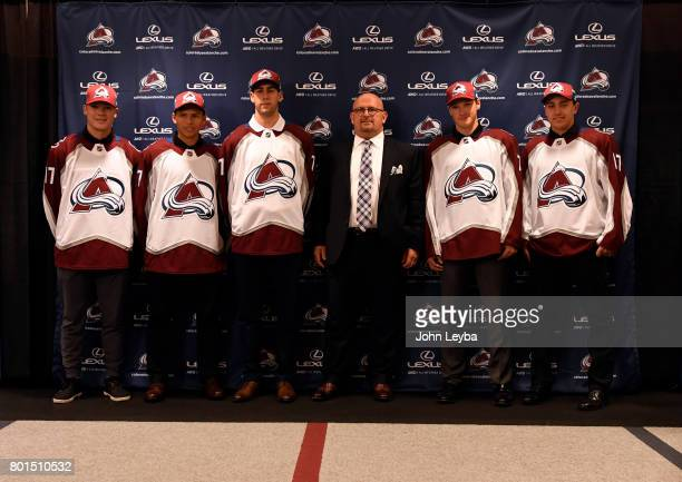 Colorado Avalanche announce the 2017 NHL draft picks on June 26 2017 in Denver Colorado at Pepsi Center Left to right are Nick Leivermann Denis...