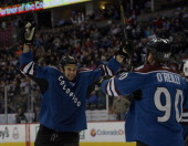 Colorado Avalanche center Ryan O'Reilly celebrates his goal with Colorado Avalanche left wing Patrick Bordeleau during the first period against the...
