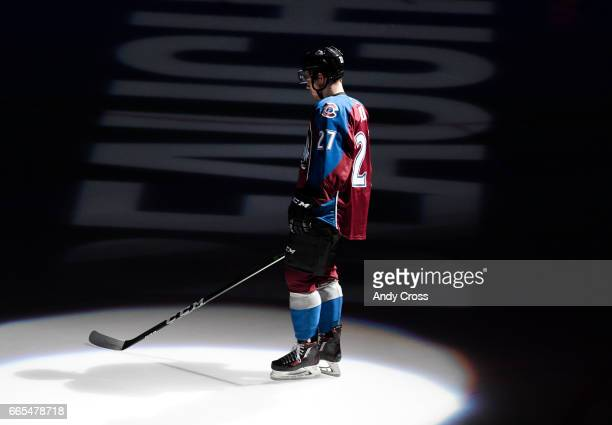 Colorado Avalanche center Tyson Jost during introductions before the game against the Minnesota Wild at the Pepsi Center April 6 2017 in Denver...