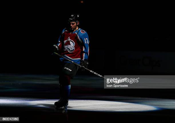 Colorado Avalanche center Tyson Jost is announced during a regular season game between the Colorado Avalanche and the visiting St Louis Blues on...