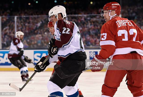 Colorado Avalanche Claude Lemieux and Detroit Red Wings Kris Draper look on during the third period February 26 2016 at Coors Field