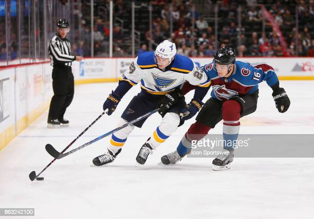 Colorado Avalanche defenseman Nikita Zadorov tries to work on position against St Louis Blues right wing Dmitrij Jaskin during a regular season game...