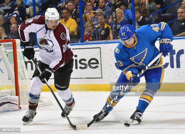 Colorado Avalanche defenseman Patrick Wiercioch and St Louis Blues defenseman Jordan Schmaltz compete for the puck during an NHL game between the...