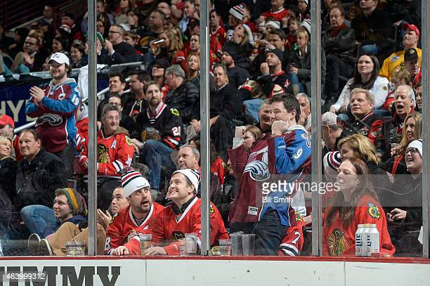 Colorado Avalanche fan celebrates after the Avalanche scored against the Chicago Blackhawks in the third period during the NHL game at the United...