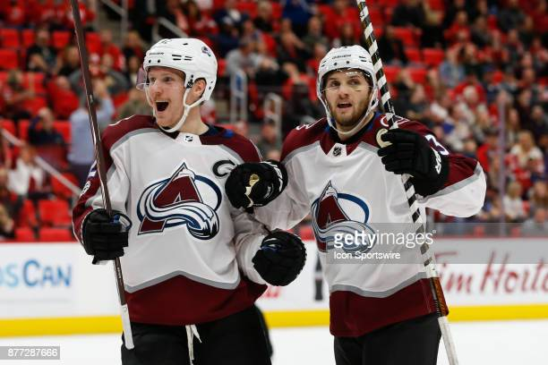 Colorado Avalanche forward Gabriel Landeskog of Sweden left and Colorado Avalanche forward Alexander Kerfoot right celebrate a goal scored during the...