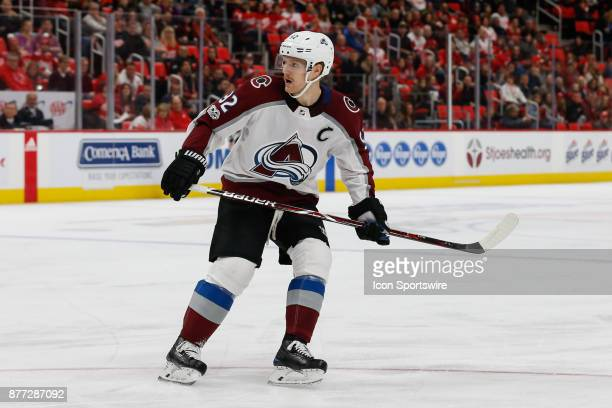 Colorado Avalanche forward Gabriel Landeskog of Sweden skates during a regular season NHL hockey game between the Colorado Avalanche and the Detroit...