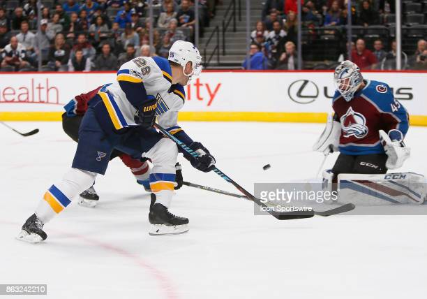 Colorado Avalanche goalie Jonathan Bernier makes a save on a shot by St Louis Blues center Paul Stastny during a regular season game between the...