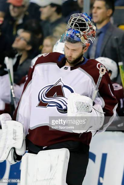 Colorado Avalanche goalie Semyon Varlamov skates back to goal after a time out during a game between the Boston Bruins and the Colorado Avalanche on...