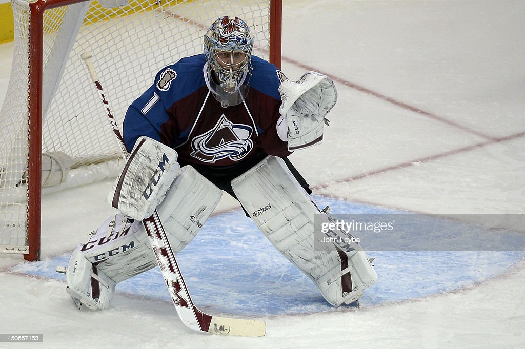 Colorado Avalanche goalie Semyon Varlamov (1) takes his stand in goal agains the Chicago Blackhawks in the second period November 19, 2013 at Pepsi Center.