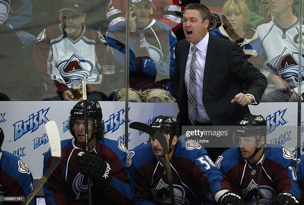 Colorado Avalanche head coach Patrick Roy yells out to the team during the second period agains the Chicago Blackhawks November 19, 2013 at Pepsi Center.