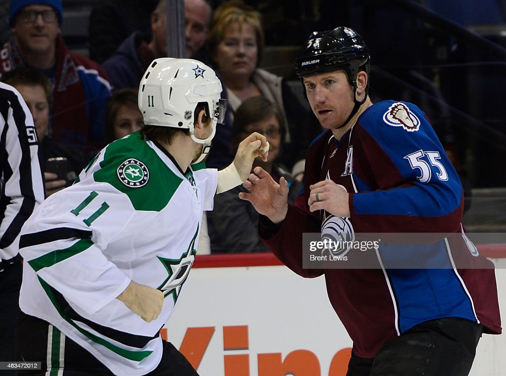 Colorado Avalanche left wing Cody McLeod watches for the first punch from Dallas Stars left wing Curtis McKenzie during the first period Saturday...