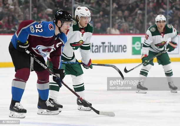 Colorado Avalanche Left Wing Gabriel Landeskog and Minnesota Wild Right Wing Mikael Granlund line up during a NHL game between the Minnesota Wild and...