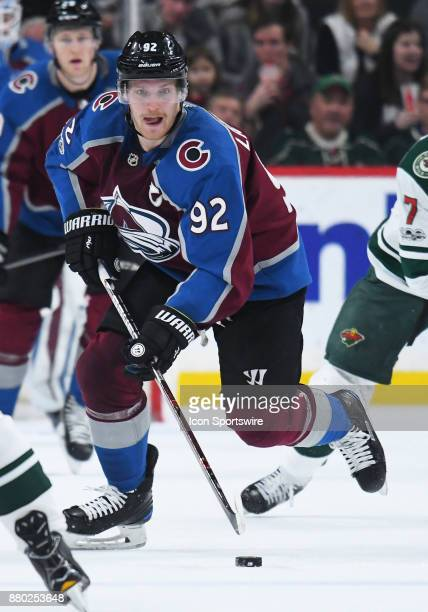 Colorado Avalanche Left Wing Gabriel Landeskog skates the puck up ice during a NHL game between the Minnesota Wild and Colorado Avalanche on November...