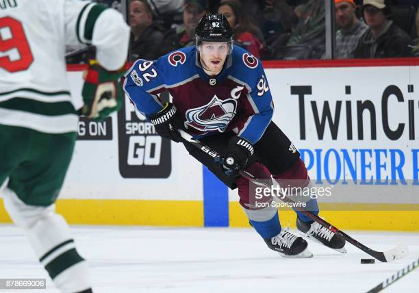 Colorado Avalanche Left Wing Gabriel Landeskog skates with the puck during a NHL game between the Minnesota Wild and Colorado Avalanche on November...