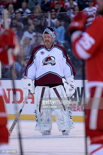 Colorado Avalanche Patrick Roy looks up at the scoreboard during introductions prior to their alumni game against the Detroit Red Wings February 26...