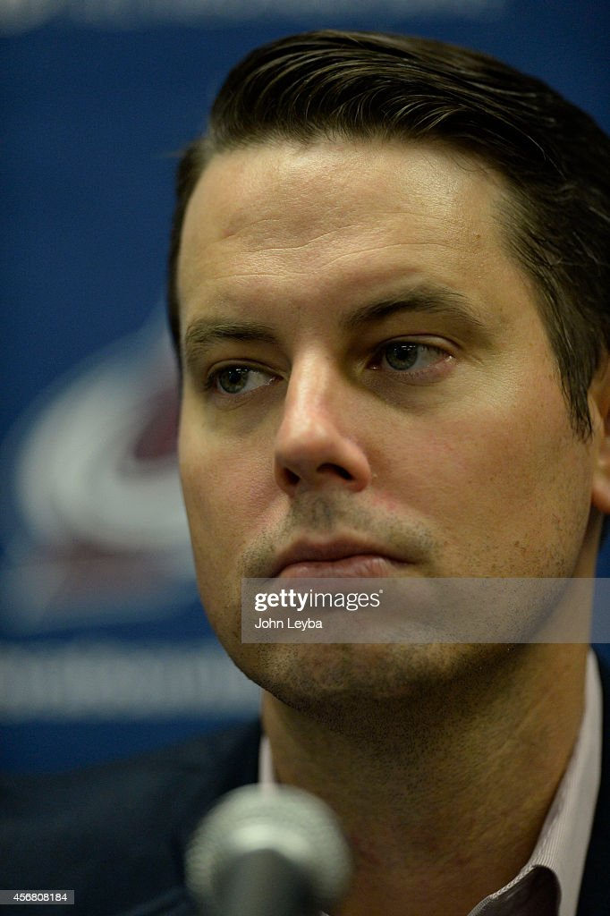 Colorado Avalanche President and Governor of the Colorado Avalanche <a gi-track='captionPersonalityLinkClicked' href=/galleries/search?phrase=Josh+Kroenke&family=editorial&specificpeople=3079825 ng-click='$event.stopPropagation()'>Josh Kroenke</a> meet stye media during a press conference October 7, 2014 at Family Sports Center.