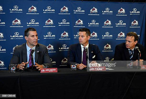Colorado Avalanche President Josh Kroenke and Executive VP/General Manger Joe Sakic announce new head coach Jared Bednar during a press conference...