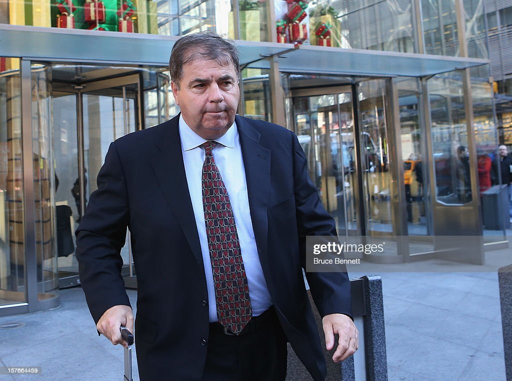 Colorado Avalanche President Pierre Lacroix leaves the leagues legal offices following the National Hockey League Board of Governors meeting on December 5, 2012 in New York City.
