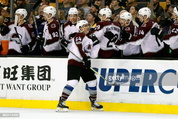 Colorado Avalanche right wing Nail Yakupov skates by the bench after making it 30 during a game between the Boston Bruins and the Colorado Avalanche...