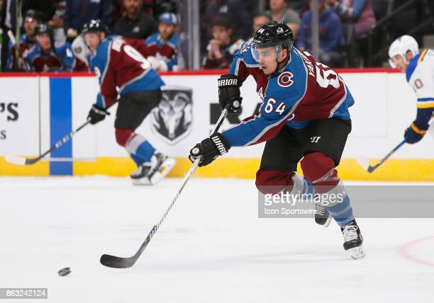 Colorado Avalanche right wing Nail Yakupov skates up the ice during a regular season game between the Colorado Avalanche and the visiting St Louis...