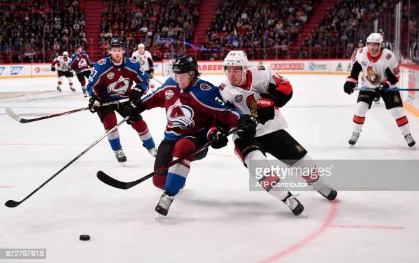 Colorado Avalanche's Chris Bigras and Ottawa Senators JeanGabriel Pageau the NHL Global Series hockey game between Colorado Avalanche and Ottawa...