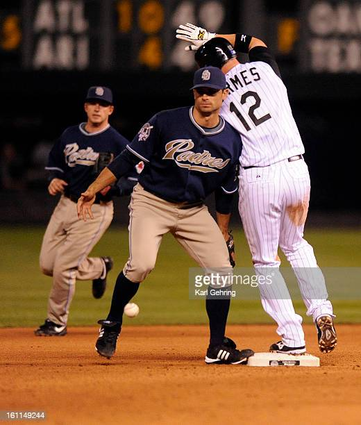 Colorado baserunner Clint Barmes stole secondbase in the seventh inning when Padres shortstop Chris Burke was unable to handle the throw from the...